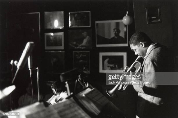 American jazz classical musician Wynton Marsalis plays trumpet during a performance at the Village Vanguard nightclub New York New York November 30...