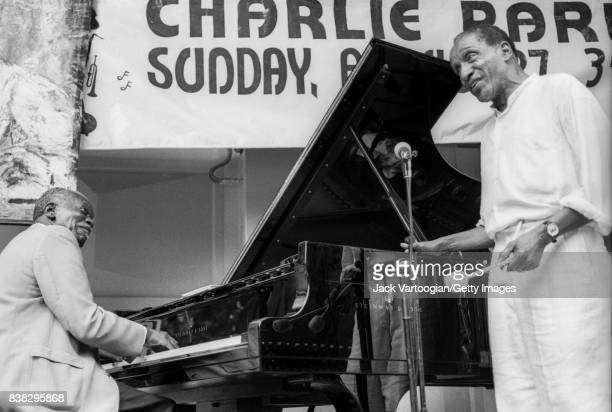 American Jazz composer and musician Hank Jones plays piano with vibraphonist Milt Jackson as they perform together at the 3rd Annual Charlie Parker...