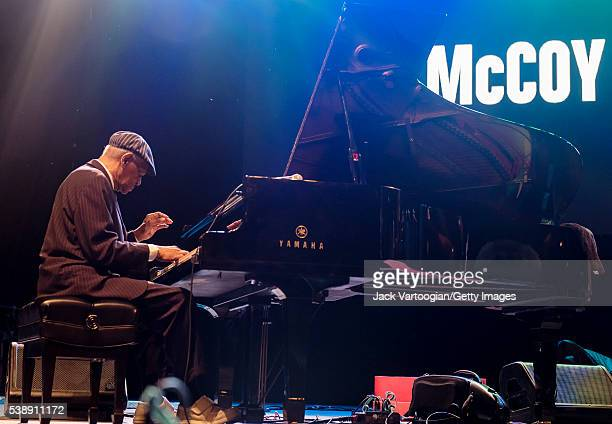 American Jazz composer and musician McCoy Tyner plays piano as he leads his quartet at the Blue Note Jazz Festival concert 'The Legends Honor...