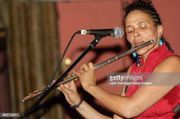 American Jazz composer and musician Nicole Mitchell plays flute as she leads her trio during the Vision Festival X 'Vision for a Just World' concert...