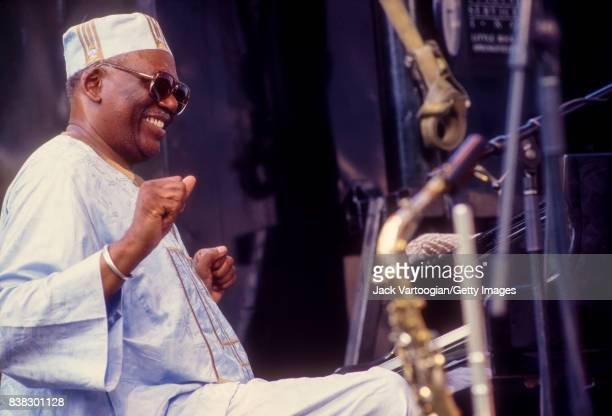 American Jazz composer and musician Randy Weston plays piano as he leads his band African Rhythms during a performance at the Panasonic Village Jazz...