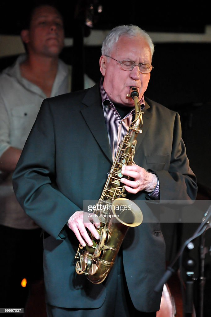 American Jazz composer and saxophonist Lee Konitz performs on stage at Pizza Express Jazz Club, Soho on May 19, 2010 in London, England.