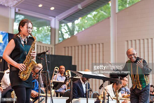 American Jazz composer arranger and musician Jimmy Heath conducts his Big Band with Sharel Cassity on alto saxophone in the premiere of the newly...