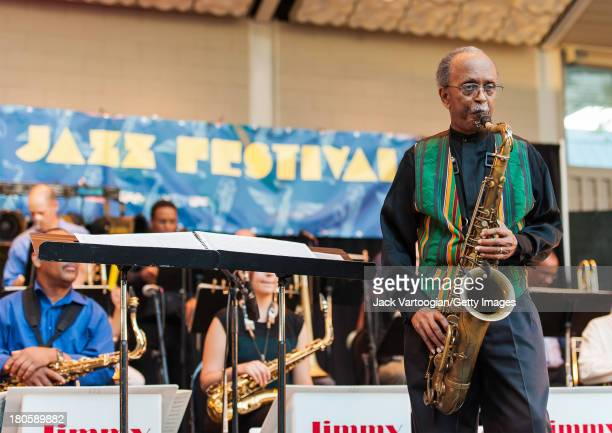 American Jazz composer arranger and musician Jimmy Heath leads his Big Band from the tenor saxophone at the premiere of the newly updated version of...