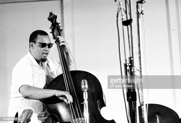 American jazz double bassist and bandleader Charles Mingus performing at Juan Les Pins Jazz Festival France July 1960