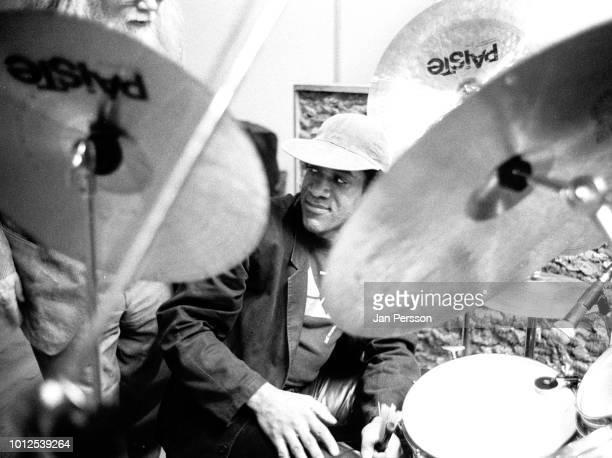 American jazz drummer Al Foster in the recording studio with Hank Jones Copenhagen Denmark March 1991