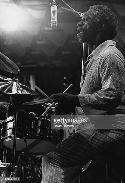 Art Blakey US jazz drummer and band leaderplaying the drums during a live concert performance at the Montreux Jazz Festival in Montreux Switzerland 8...