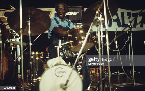 Drummer Art Blakey performs on stage as part of the Newport Jazz Festival held in New York City in July 1977