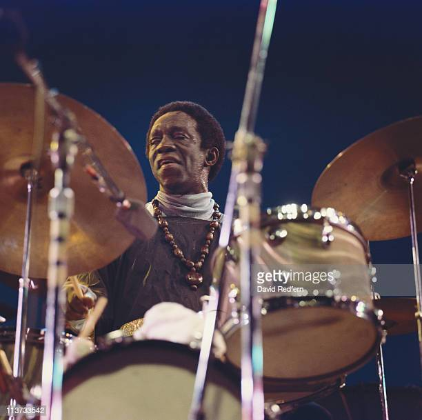 Art Blakey US jazz drummer playing the drums during a live concert performance at the Newport Jazz Festival in Newport Rhode Island USA 5 July 1969