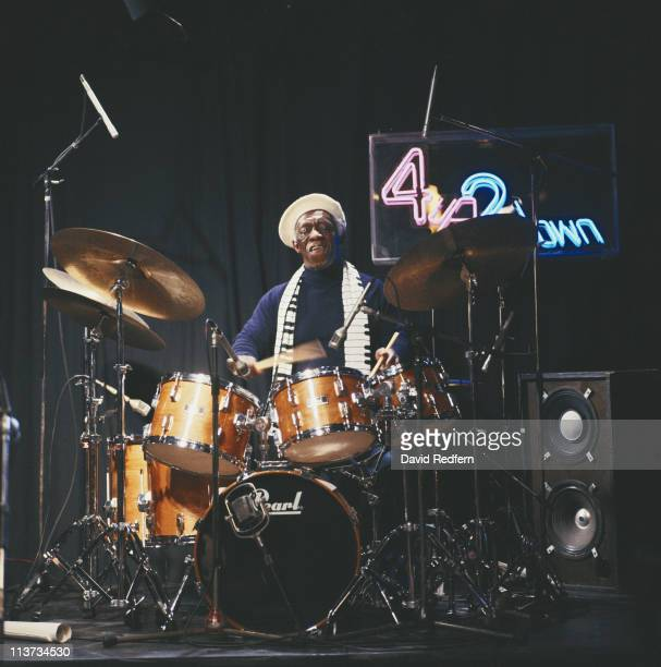 Art Blakey US jazz drummer playing the drums during a performance on Channel 4 television show '4 Up 2 Down' filmed at Newcastle Playhouse in...