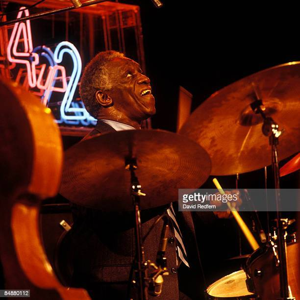 American jazz drummer Art Blakey performs on stage during the recording of the Channel 4 music television show '4 Up, 2 Down' at Newcastle Playhouse...