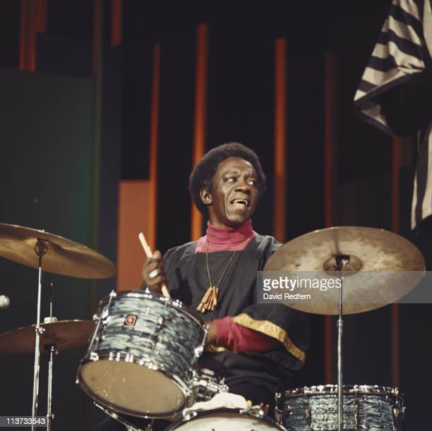 Art Blakey US jazz drummer playing the drums during a concert performance on the BBC television show 'Jazz at the Maltings' filmed at Snape Maltings...