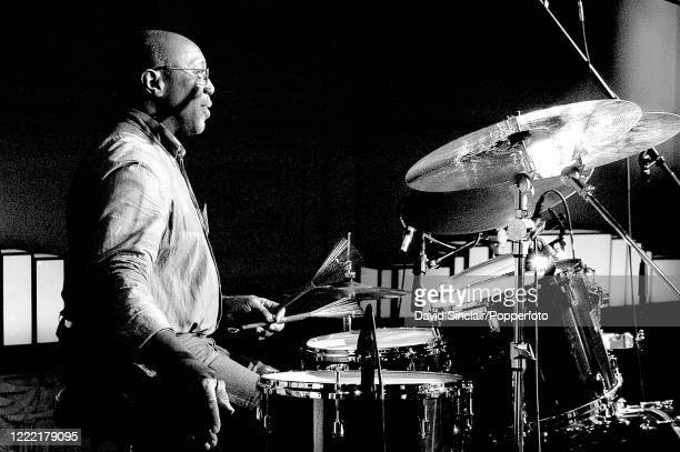American jazz drummer Billy Cobham performs live on stage at BBC Broadcasting House in London on 7th June 2007.
