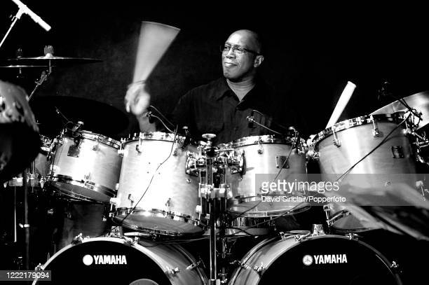 American jazz drummer Billy Cobham performs live on stage at Ronnie Scott's Jazz Club in Soho, London on 21st February 2008.