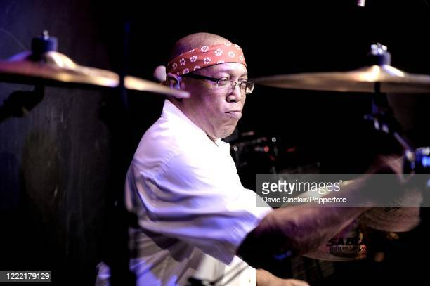 American jazz drummer Billy Cobham performs live on stage at Ronnie Scott's Jazz Club in Soho, London on 19th February 2009.