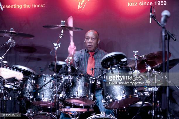 American jazz drummer Billy Cobham performs live on stage at Ronnie Scott's Jazz Club in Soho, London on 3rd February 2014.