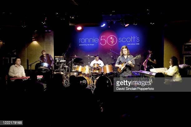 American jazz drummer Billy Cobham performs live on stage with his band at Ronnie Scott's Jazz Club in Soho, London on 16th February 2011.