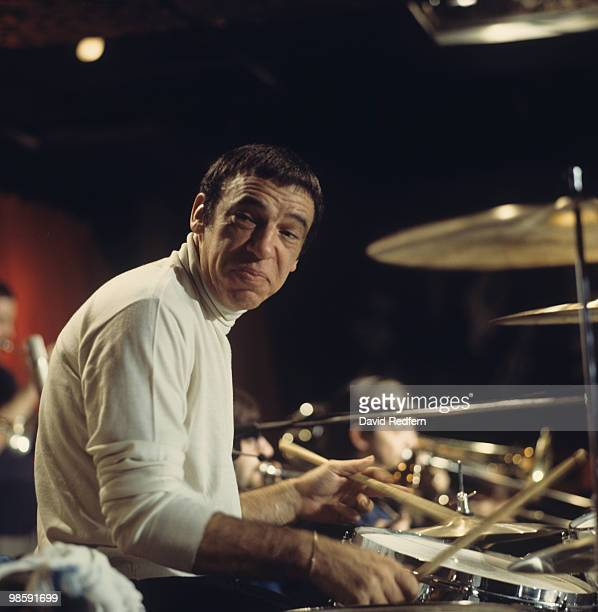 American jazz drummer Buddy Rich performs live on stage playing his drum kit at Ronnie Scott's Jazz Club in Soho, London on 9th November 1969.