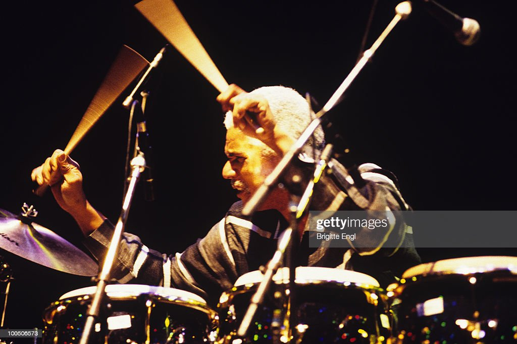American jazz drummer Don Alias performs on stage in 2000.