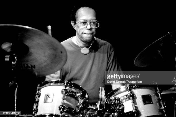 American jazz drummer Louis Hayes performs live on stage at Ronnie Scott's Jazz Club in Soho, London on 1st September 2003.
