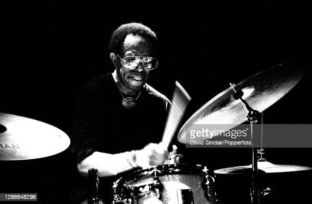 American jazz drummer Louis Hayes performs live on stage at Ronnie Scott's Jazz Club in Soho, London on 22nd July 2002.