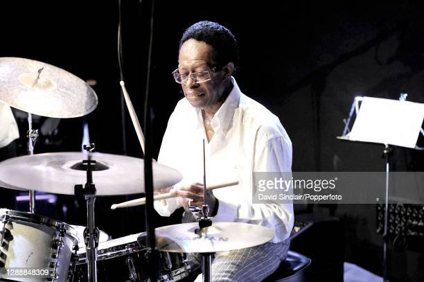 American jazz drummer Louis Hayes performs live on stage at Ronnie Scott's Jazz Club in Soho, London on 4th August 2008.