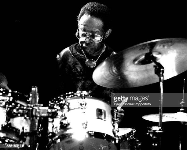 American jazz drummer Louis Hayes performs live on stage during the London Jazz Festival at Ronnie Scott's Jazz Club in Soho, London on 12th November...