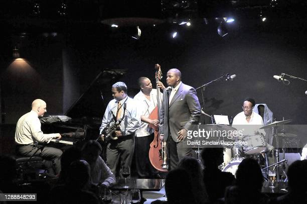 American jazz drummer Louis Hayes performs live on stage with his band at Ronnie Scott's Jazz Club in Soho, London on 4th August 2008.