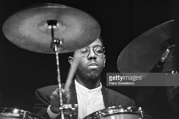 American jazz drummer Marvin Smith performs at the NOS Jazz festival at de Meervaart in Amsterdam, Netherlands on 12th August 1988.