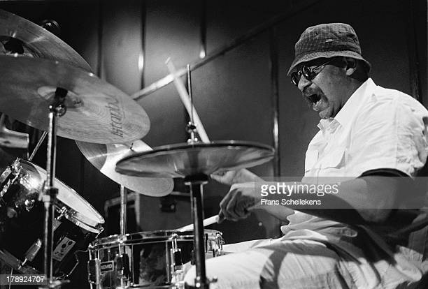 American jazz drummer Sunny Murray performs live on stage at the BIM Huis in Amsterdam, Netherlands on 9th June 1989 .