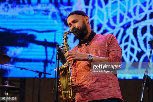 American jazz group Jeff Ballard Trio perform on the stage during 19th Annual Gnaoua Music Festival in Essaouira Morocco on May 13 2016
