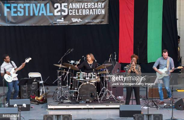 American Jazz group Social Science performs at the 25th Annual Charlie Parker Jazz Festival in Harlem's Marcus Garvey Park New York New York August...