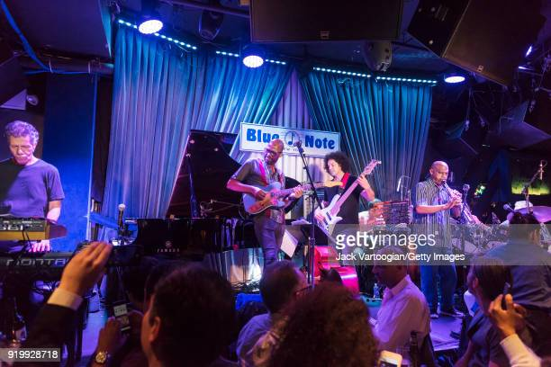 American Jazz group the Corea/Gadd Band perform during the late set at the Blue Note nightclub New York New York September 28 2017 Pictured are from...