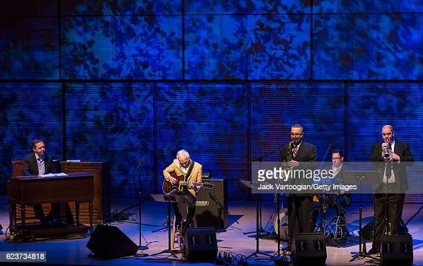 American Jazz group the Pat Martino Organ Trio Plus Horns perform onstage in the 'Shape of Jazz'/Late Nights concert series at Carnegie Hall series...