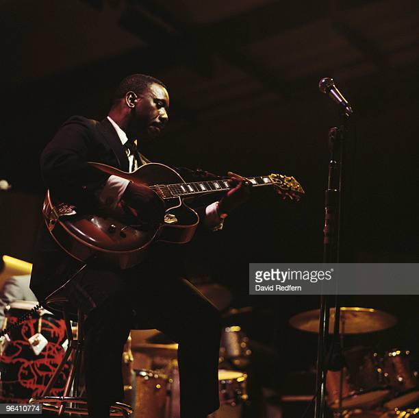 Jazz guitarist Wes Montgomery performs on stage at the Newport Jazz Festival on July 3rd 1967 in Newport Rhode Island Image is part of David Redfern...