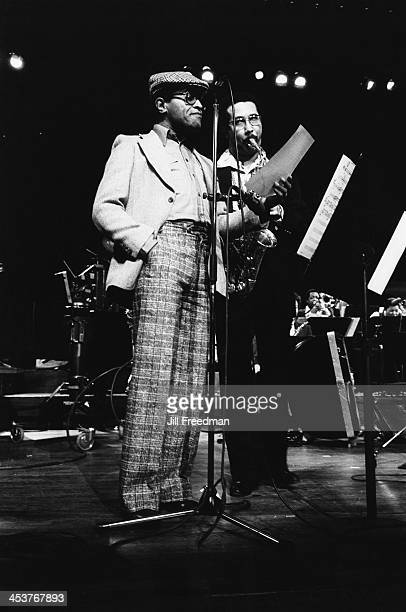 American jazz lyricist and singer Jon Hendricks and Cuban alto saxophonist and clarinetist Paquito D'Rivera during rehearsals for 'Dizzy Gillespie...