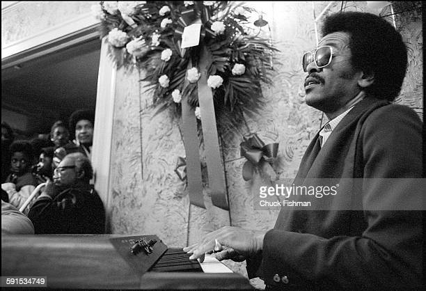 American Jazz musician Allen Toussaint plays electric piano at the wake of fellow musician Professor Longhair New Orleans Louisiana February 1980