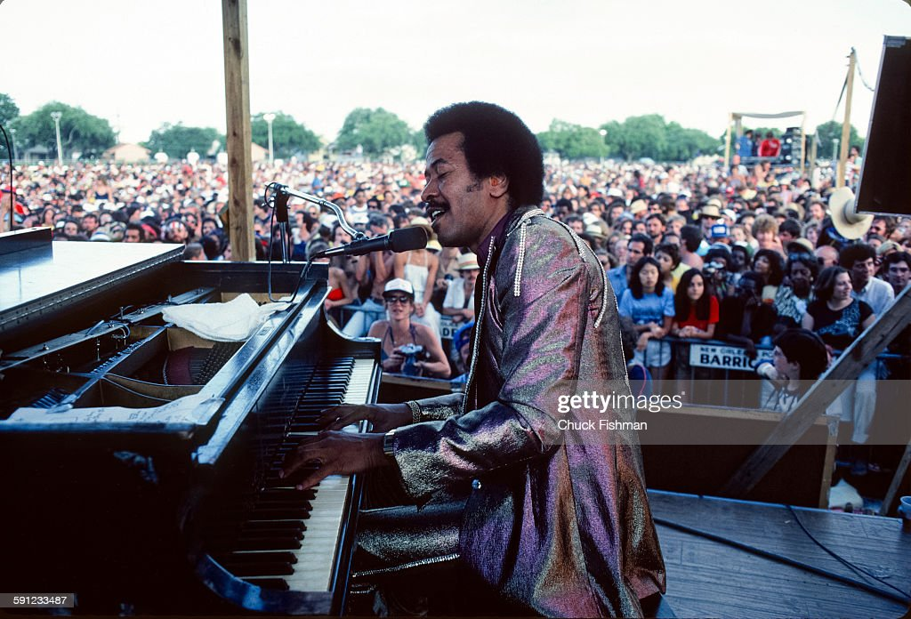 American Jazz musician Allen Toussaint (1938 - 2015) plays piano as he performs onstage during the New Orleans Jazz Festival, New Orleans, Louisiana, 1981.
