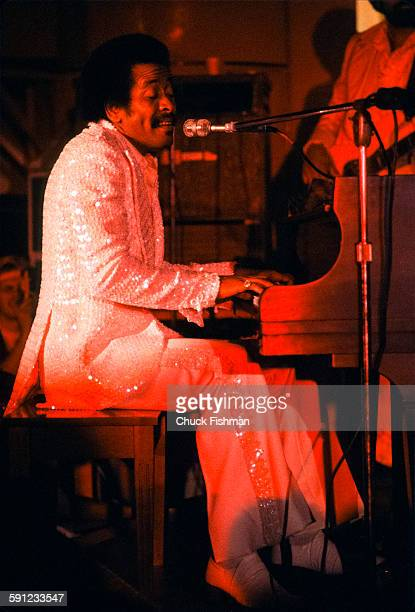 American Jazz musician Allen Toussaint plays piano as he performs onstage during the New Orleans Jazz Festival New Orleans Louisiana 1981