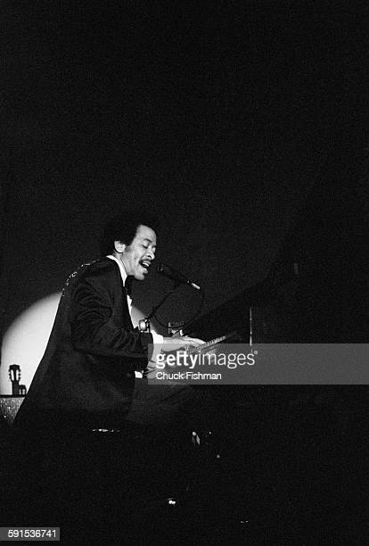 American Jazz musician Allen Toussaint plays piano as he performs onstage New Orleans Louisiana February 1978