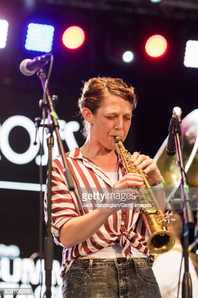 American Jazz musician and band leader Aurora Nealand plays soprano saxophone as she leads her band the Royal Roses at Central Park SummerStage New...