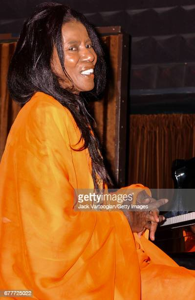 American Jazz musician and composer Alice Coltrane plays piano with her son Ravi Coltrane's Quartet at Joe's Pub New York New York November 12 2002...