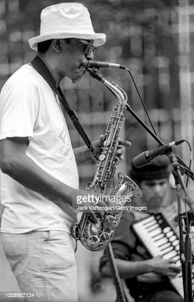 American Jazz musician and composer Henry Threadgill plays alto saxophone during a performance at a Bryant Park Restoration Corporation Presents...