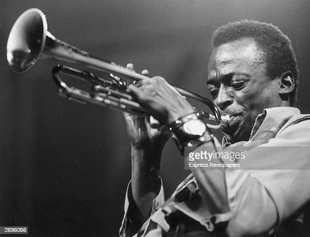 American jazz musician and composer Miles Davis playing the trumpet, circa 1970.