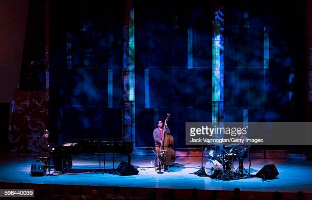 American Jazz musician and composer Robert Glasper plays piano as he performs with his trio during a concert in 'The Shape of Jazz' series at...