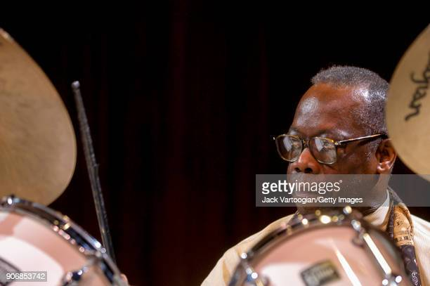 American Jazz musician Andrew Cyrille plays drums as he performs onstage during the 'Archie Shepp/Roswell Rudd Live in New York' concert at Lincoln...
