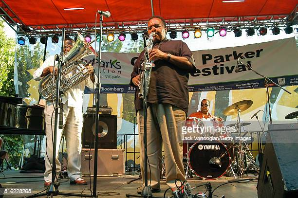American Jazz musician Arthur Blythe plays alto saxophone as he leads his trio onstage at the 11th Annual Charlie Parker Jazz Festival in Tompkins...