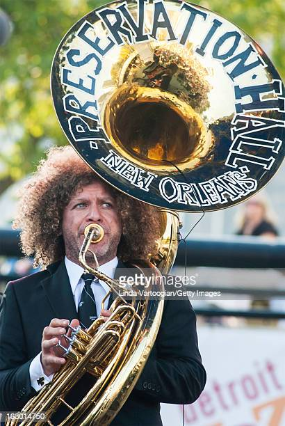 American jazz musician Ben Jaffe on tuba during a performance with New Orleans' Preservation Hall Jazz Band on the Carhartt Amphitheatre Stage at the...