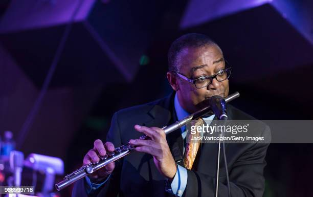 American jazz musician Bobby Lavell performs on flute with the Jimmy Heath Big Band during the Jimmy Heath 90th Birthday Celebration at The Blue Note...