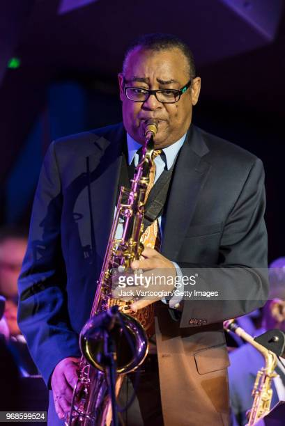 American Jazz musician Bobby Lavell performs on tenor saxophone with the Jimmy Heath Big Band during the Jimmy Heath 90th Birthday Celebration at The...